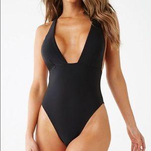 New Black Deep Plunge One Piece Swim Swimsuit